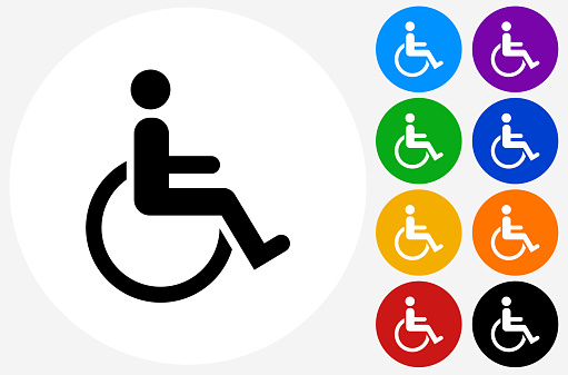 Wheelchair Disability on Flat Round Button. The icon is black and is placed on a round blue vector button. The button is flat white color and the background is light. The composition is simple and elegant. The vector icon is the most prominent part if this illustration. There are eight alternate button variations on the right side of the image. The alternate colors are orange, red, purple, yellow, black, green, blue and indigo.