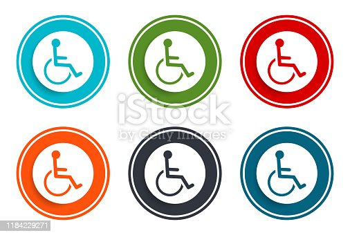Wheelchair handicap icon flat vector illustration design round buttons collection set of 6 colorful concept frame simple circle isolated on white background for web and applications interface