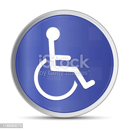 Wheelchair handicap icon prime blue round button illustration design silver vector border metal frame push button isolated on white background