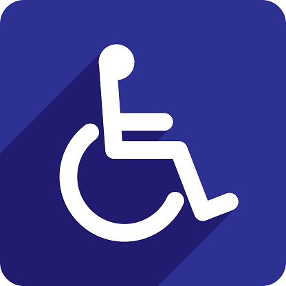 Vector illustration of a blue wheelchair icon in flat style.