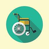 Wheelchair long shadow flat design medical icon. Vector illustration.