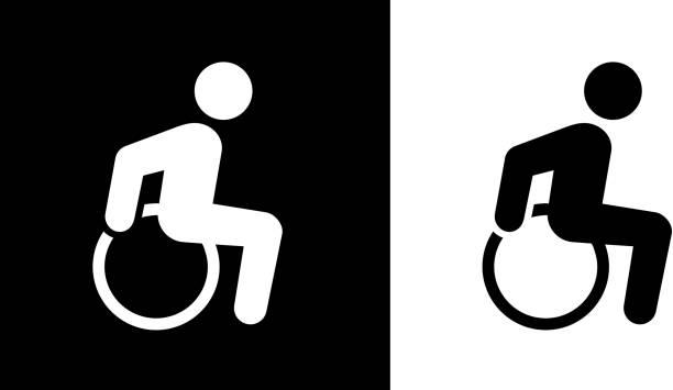 bildbanksillustrationer, clip art samt tecknat material och ikoner med rullstol man funktionshinder ikonen - wheel black background