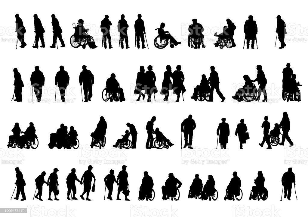 Gente de silla de ruedas en blanco ilustración de gente de silla de ruedas en blanco y más vectores libres de derechos de abuela libre de derechos