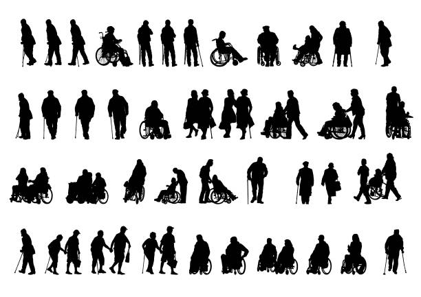 Wheelchair people on white Silhouettes people in wheelchair on white background in silhouette stock illustrations