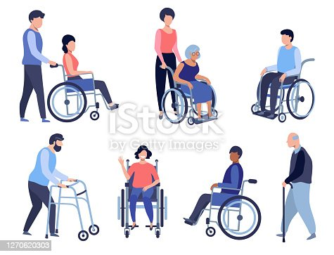 Wheelchair person, Disabled people set. Volunteer helps seniors, Care older people, and Patient health support concept illustration.