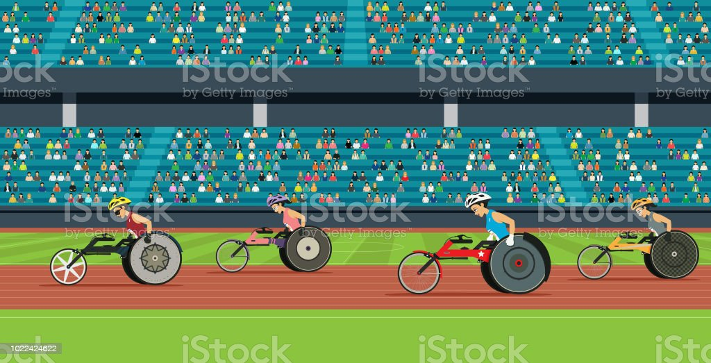 Wheelchair Race of the Disabled vector art illustration