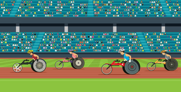 wheelchair race of the disabled - wheelchair sports stock illustrations, clip art, cartoons, & icons