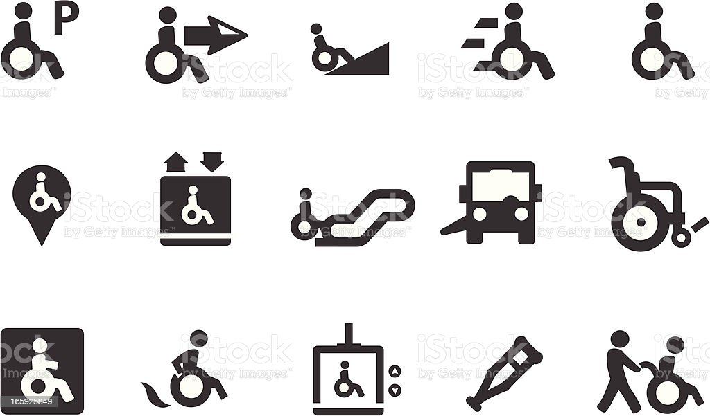 Wheelchair Symbols vector art illustration