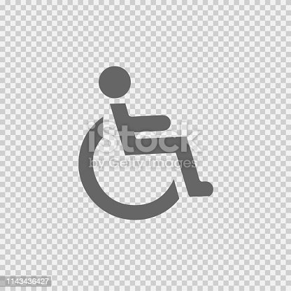 Wheelchair vector icon eps 10. Simple isolated illustration.