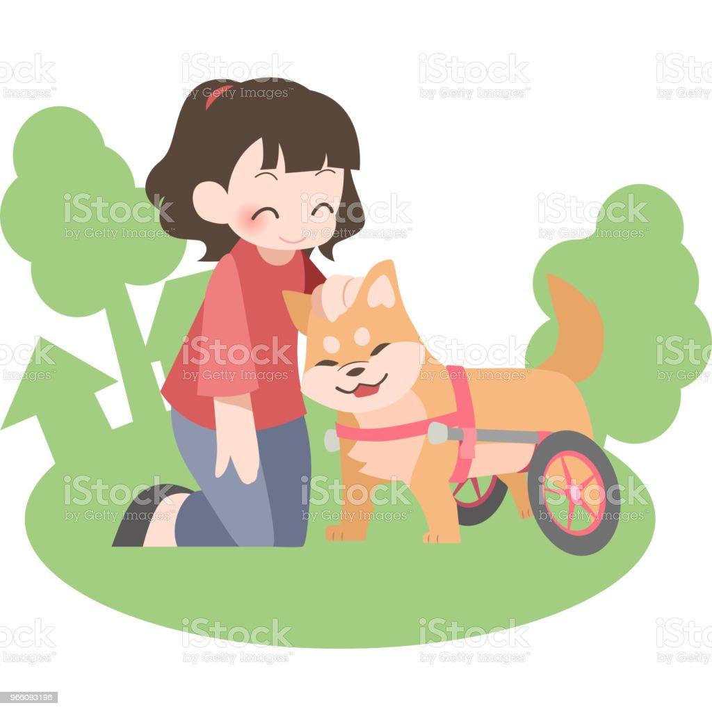 Rolstoelen voor honden en hun eigenaren (buiten) - Royalty-free Dier vectorkunst