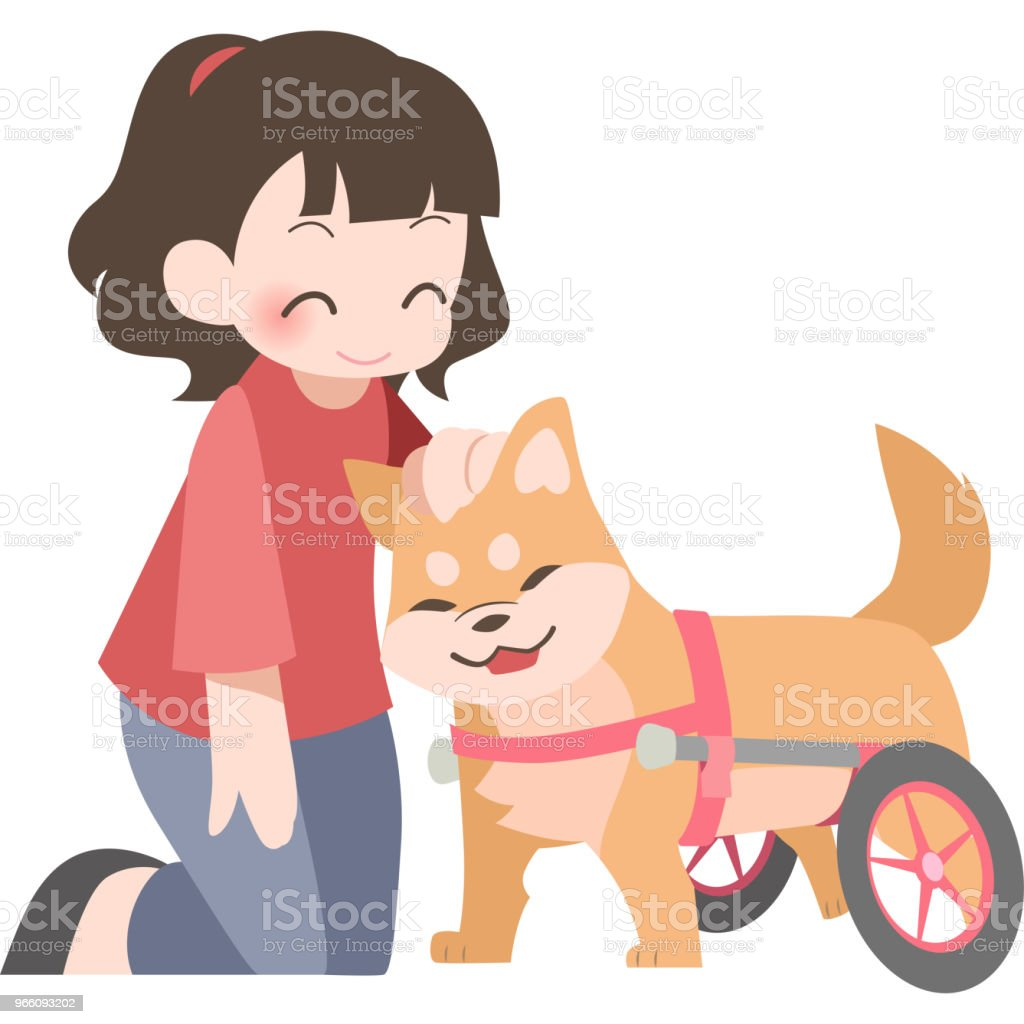 Wheelchairs for dogs and their owners - Royalty-free Adult stock vector