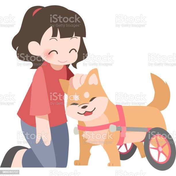 Rullstolar För Hundar Och Deras Ägare-vektorgrafik och fler bilder på Djur
