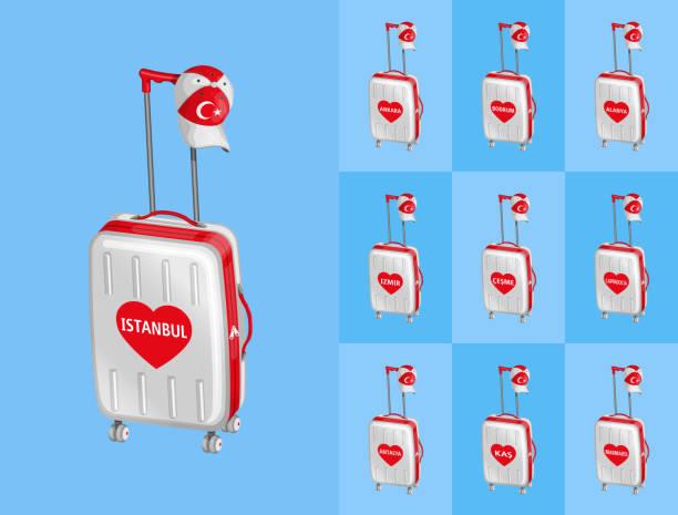 fahrbare taschen für die reise nach türkei touristischen städte mit türkischen kappe - alanya stock-grafiken, -clipart, -cartoons und -symbole