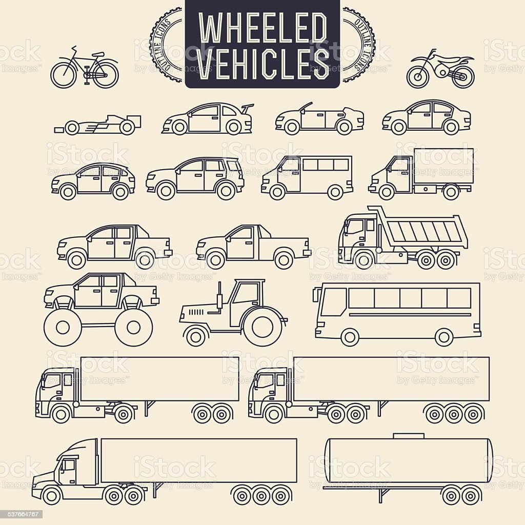 Wheeled vehicles icons vector art illustration