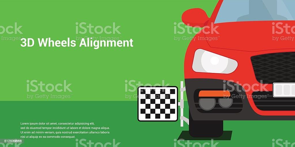 3D wheels alignment vector art illustration
