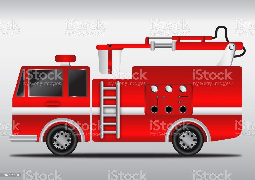 4 wheels hydraulics cabin fire engine vector art illustration