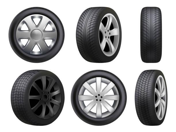 stockillustraties, clipart, cartoons en iconen met wielen realistisch. banden road maintenance vector auto 3d automobiel itemscollectie - uitgeput
