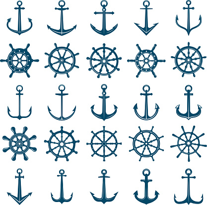 Wheels ship anchors icon. Steering wheels boat and ship anchors marine and navy symbols. Vector silhouettes for logo designs or tattoo