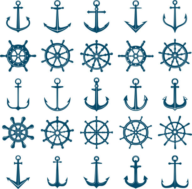 Wheels ship anchors icon. Steering wheels boat and ship anchors marine and navy symbols. Vector silhouettes for logo designs or tattoo Wheels ship anchors icon. Steering wheels boat and ship anchors marine and navy symbols. Vector silhouettes for logo designs or tattoo. Anchor and wheel for ship or boat, navy travel illustration steering wheel stock illustrations