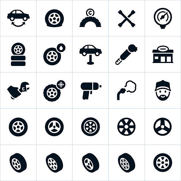 ilustraciones, imágenes clip art, dibujos animados e iconos de stock de ruedas, neumáticos y iconos de herramientas para reparar las llantas - tires