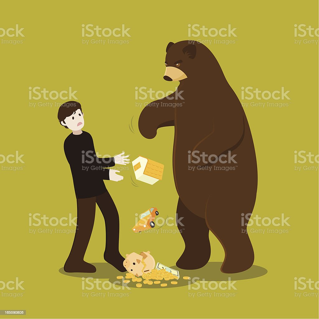 when bear market attacks royalty-free stock vector art
