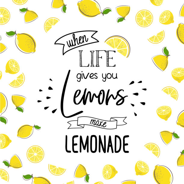 when life give you lemon make lemonade When life gives you lemons make lemonade. Quote design with fruits. Motivation poster with modern calligraphy and citrus. Cool summer print with lemon. Vector illustration. Print for t-shirt. lemon fruit stock illustrations