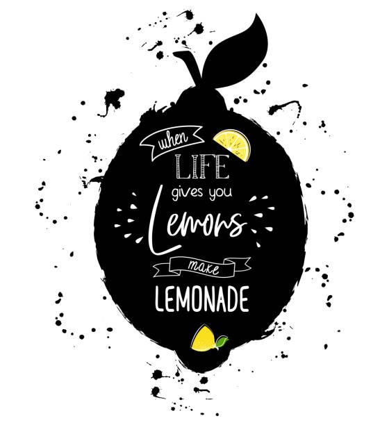 stockillustraties, clipart, cartoons en iconen met wanneer leven geven u citroen maak limonade - fresh start yellow