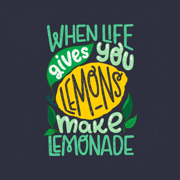 When Life Gives You Lemons Make Lemonade quote Inspiring lettering saying When Life Gives You Lemons Make Lemonade on black chalkboard. Green and yellow hand drawn inscription with citrus fruit and leaves. Sunny phrase for poster, apparel, print motivation stock illustrations