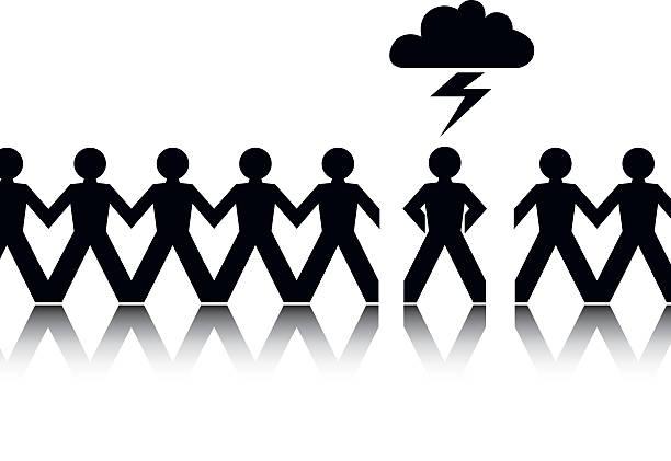 When Lightening Strikes Unlucky man amongst many getting struck by lightening. forked lightning stock illustrations