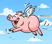"Vector illustration of a cute pig flying in the sky. Concept for the saying ""When pigs fly""."