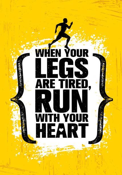 ilustraciones, imágenes clip art, dibujos animados e iconos de stock de cuando las piernas están cansadas, correr con tu corazón. inspirando el medio maratón deporte motivación citar. bandera de entrenamiento creativo - fondos grunge