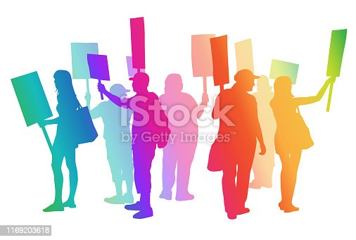 Silhouette illustration in colour with a group of people on strike