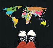 Sneakers - layered illustration with global colors. Top view. Eps 10 with transparency elements.