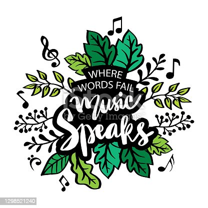 istock Where words fail music speaks lettering in frame. Hand lettering. Motivational quote. 1298521240