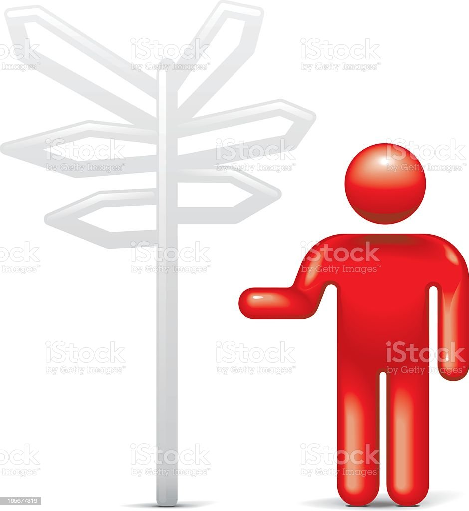 Which Direction?: Stickman 2.0 royalty-free stock vector art