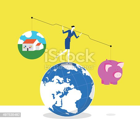 A business woman is trying to keep balance and stand on a earth, she lifts up lever,one side is a piggy bank and the other is a house.