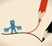 Blue Little Guy Characters Full Length Vector art illustration.Copy Space. Which way concept, businessman standing on forked road (crossroad) drawn by two pencils.