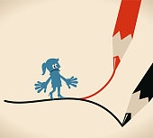 Blue Little Guy Characters Full Length Vector art illustration.Copy Space. Which way concept, businesswoman standing on forked road (crossroad) drawn by two pencils.