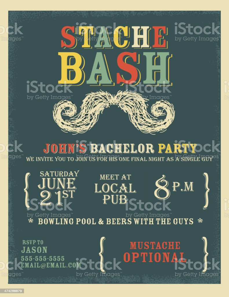 Whimsical and colorful bachelor party invitation design template vector art illustration