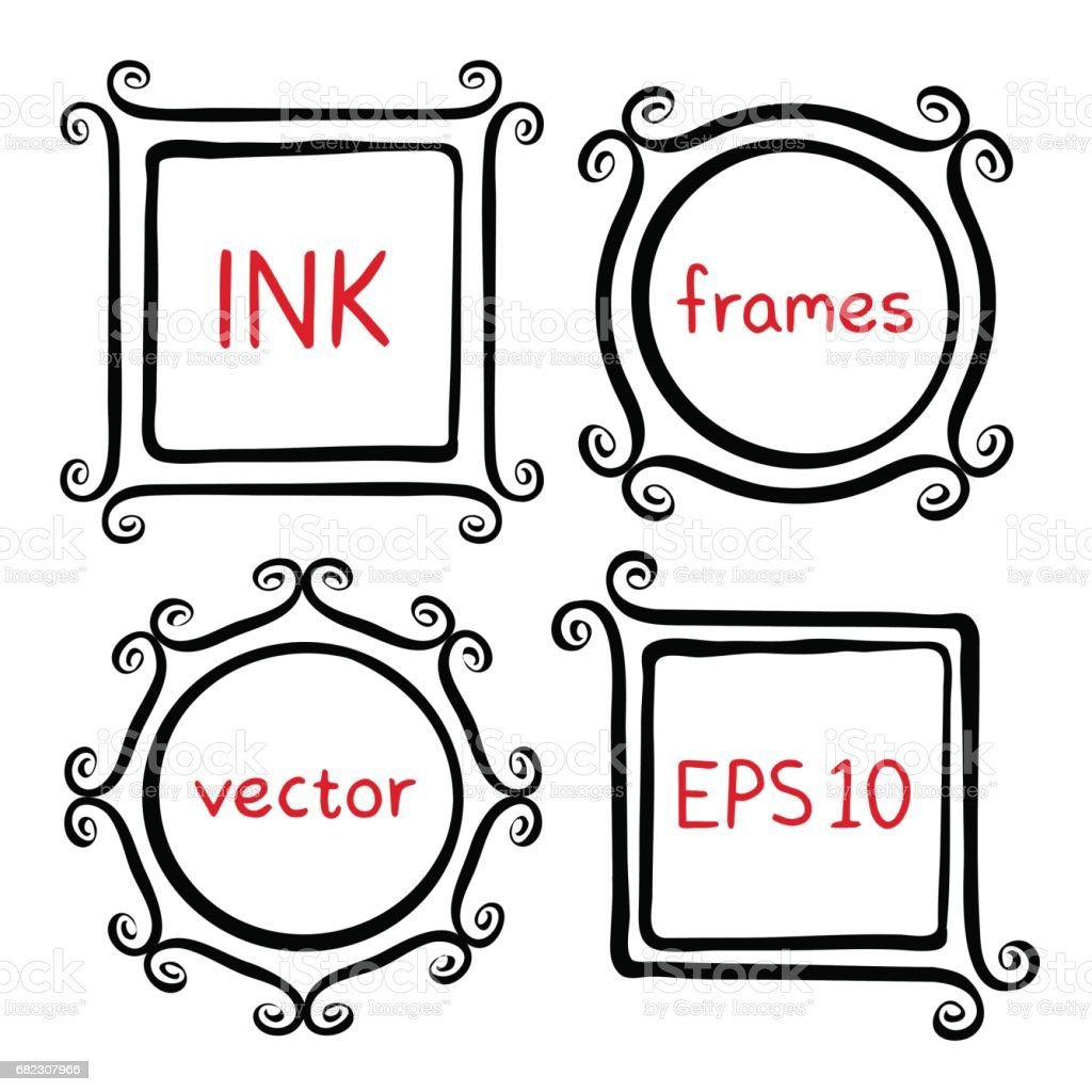 Whimsical Brush Frames Stock Vector Art & More Images of Abstract ...