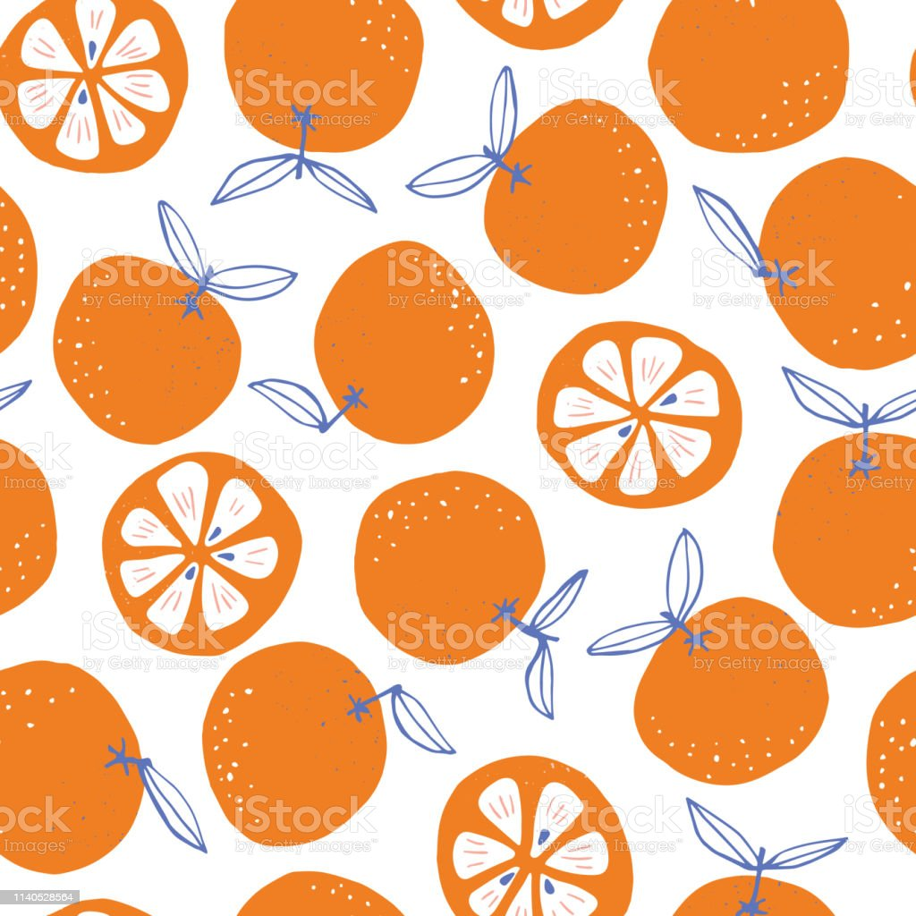 Whimsical colorful hand-drawn abstract doodle oranges vector seamless...