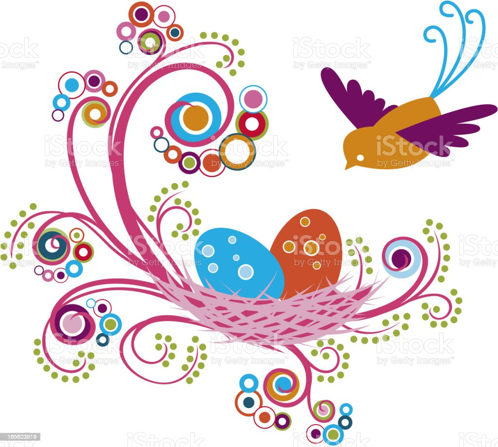 Whimsical Floral Bird's Nest royalty-free stock vector art