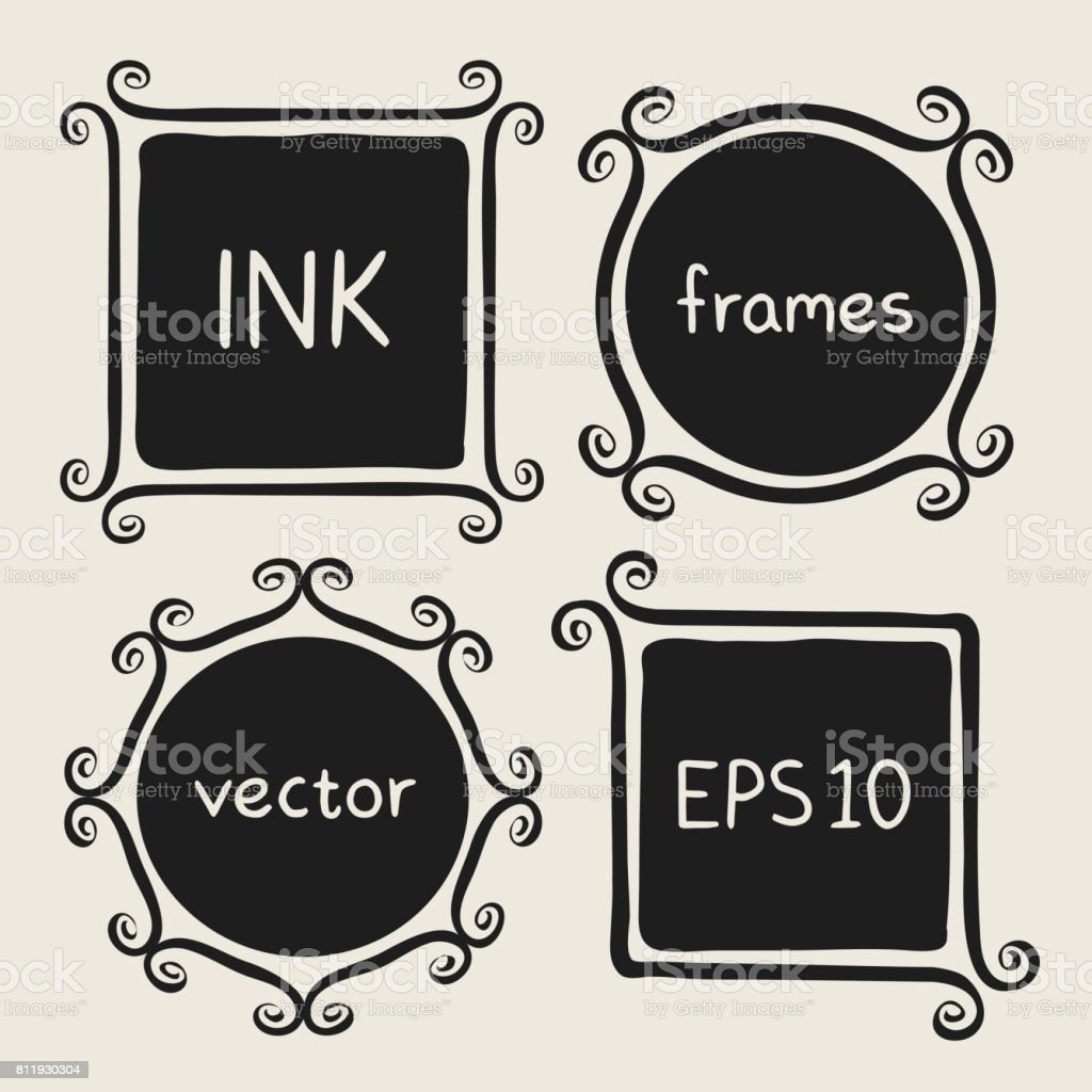 Whimsical Frames Hand Painted With Brush Stock Vector Art & More ...