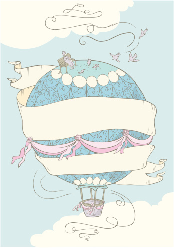whimsical hot air balloon with banner and grandma feeding pidgeons