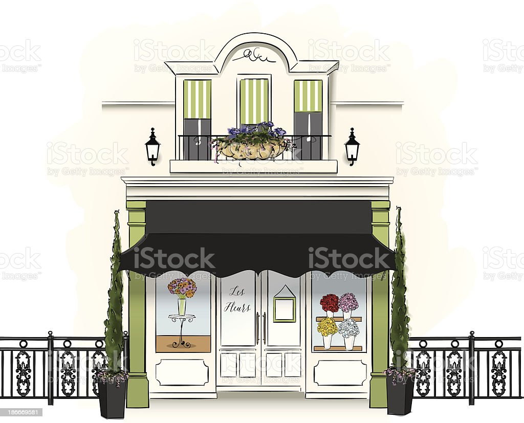 Whimsical illustration of a floristry shop selling flowers vector art illustration