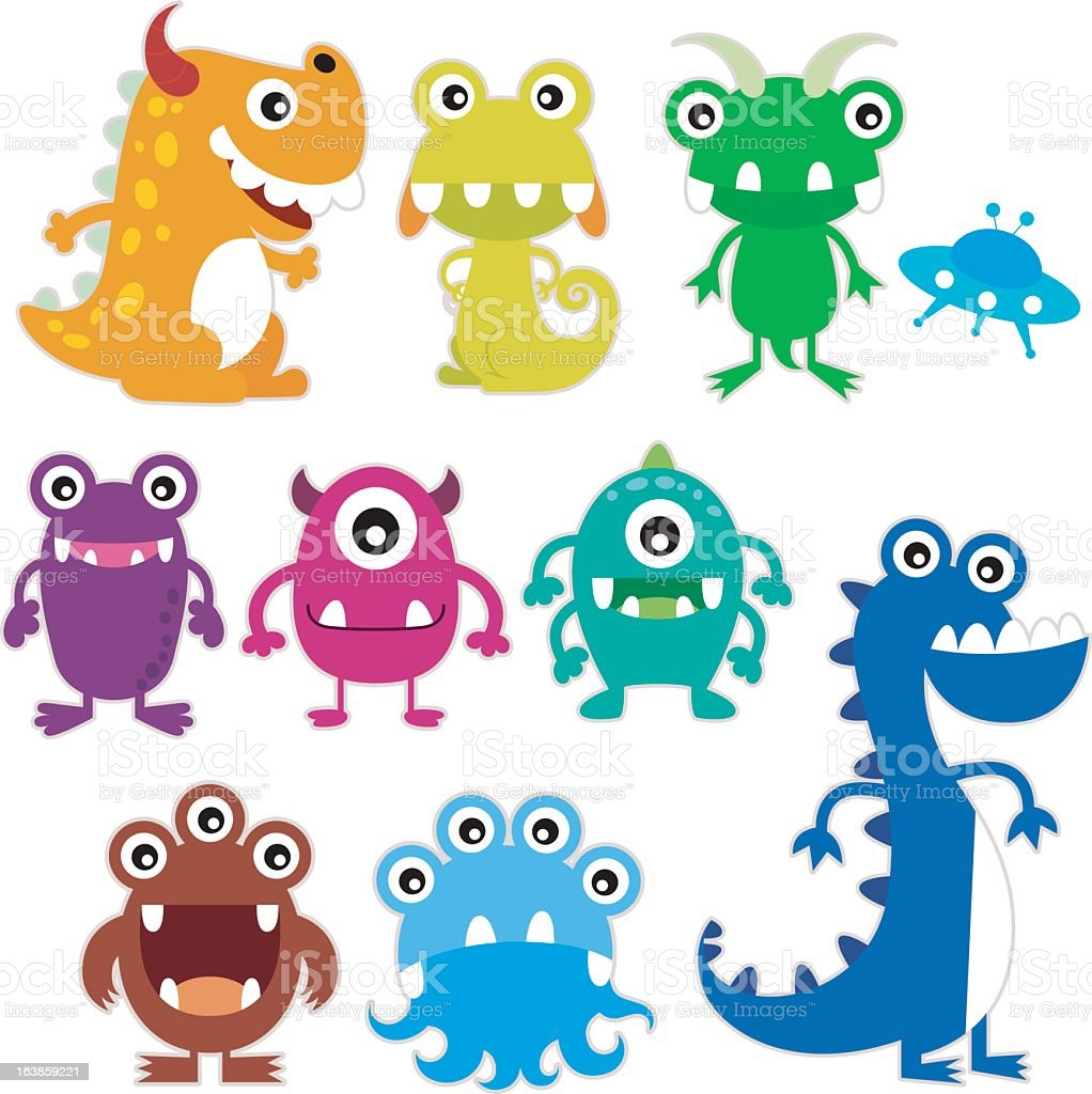 Whimsical illustration of brightly colored, happy monsters vector art illustration