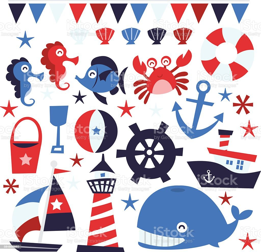 Whimsical Nautical Design Elements vector art illustration