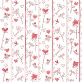 A whimsical pink repeating pattern tile with flowers, birds, hearts, lines, butterflies, and dragonflies. A small PNG is included for use on the web as a repeating background.