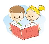 Vector illustration of cute young boy and girl reading book.