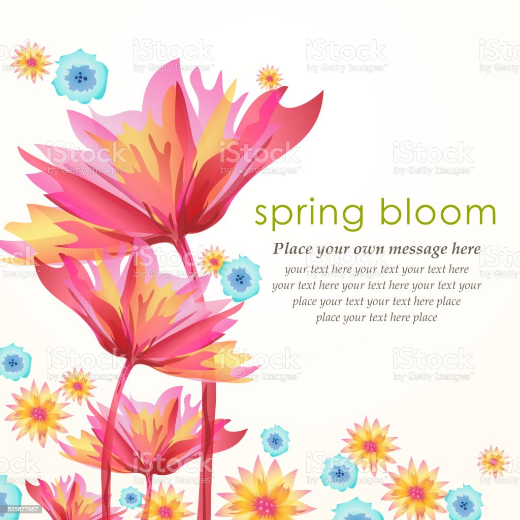 Whimsical Spring Flowers Blooming In Spring Stock Vector Art More